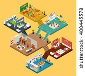 Mall Isometric Icon Set With...