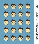set of man's faces with... | Shutterstock .eps vector #400446139