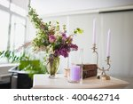 violet and white flowers in... | Shutterstock . vector #400462714