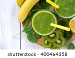 green smoothie  with spinach... | Shutterstock . vector #400464358