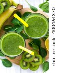 green smoothie  with spinach... | Shutterstock . vector #400464370