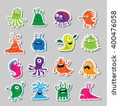 set of cute monsters in the... | Shutterstock .eps vector #400476058