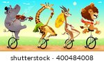 funny wild animals on unicycles.... | Shutterstock .eps vector #400484008