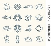 sea life line icons | Shutterstock .eps vector #400501414