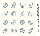 sport equipment line icons | Shutterstock .eps vector #400502428