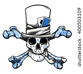 Skull In Hat With Pipe  Tattoo...