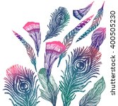 Hand Drawn Feathers Background  ...