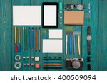 workplace with tablet pc ... | Shutterstock . vector #400509094