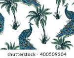 peacock  tropical palm trees ... | Shutterstock .eps vector #400509304