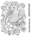 fantasy flowers coloring page.... | Shutterstock .eps vector #400509409