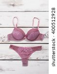 set of purple lingerie.... | Shutterstock . vector #400512928