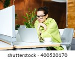 beautiful thoughtful young... | Shutterstock . vector #400520170