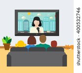 family watching news on tv ... | Shutterstock .eps vector #400532746