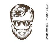 hipster  man hair and beard ...   Shutterstock .eps vector #400546510