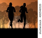 fitness young woman runner... | Shutterstock .eps vector #400548520