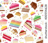 colorful sweet cakes slices... | Shutterstock .eps vector #400554628