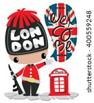 cute soldier with red telephone ... | Shutterstock .eps vector #400559248