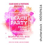 hello summer beach party flyer. ...   Shutterstock .eps vector #400569616