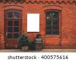 brick wall restaurant facade... | Shutterstock . vector #400575616