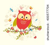 cute  spring owl sitting on a... | Shutterstock .eps vector #400577704