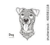 dog with ethnic floral doodle... | Shutterstock .eps vector #400581118