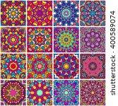 set of ethnic seamless pattern. ... | Shutterstock .eps vector #400589074