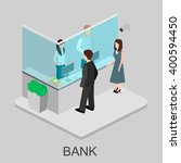 isometric interior of bank | Shutterstock .eps vector #400594450