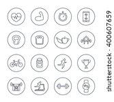 16 fitness  gym  training line... | Shutterstock .eps vector #400607659
