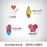 vector set of hand logos  care... | Shutterstock .eps vector #400613884