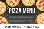 flat style. pizza card menu.... | Shutterstock .eps vector #400614169