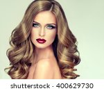 beautiful girl with long wavy... | Shutterstock . vector #400629730