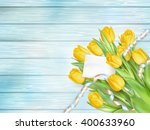 bouquet of beautiful tulips... | Shutterstock .eps vector #400633960