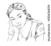 vector art drawing  portrait of ... | Shutterstock .eps vector #400636834