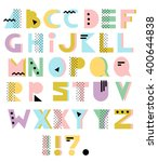 Hand Drawn Alphabet. Geometric...