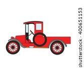 red cartoon old retro car truck. | Shutterstock .eps vector #400651153