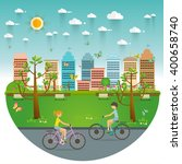 couple riding bicycles in... | Shutterstock .eps vector #400658740