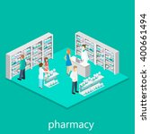 isometric interior of pharmacy | Shutterstock .eps vector #400661494