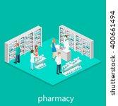 isometric interior of pharmacy | Shutterstock .eps vector #400661494
