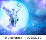 angel in a blue planet over...   Shutterstock . vector #400663180