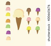 set of 7 flavour color of ice... | Shutterstock .eps vector #400665676