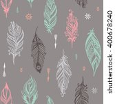 boho hand drawn doodle seamless ... | Shutterstock .eps vector #400678240