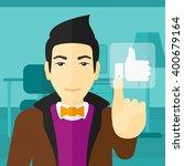 man pressing like button.   Shutterstock .eps vector #400679164