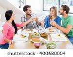 friends toasting wine glasses... | Shutterstock . vector #400680004
