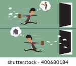 business man work up late with... | Shutterstock .eps vector #400680184