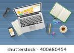 businessman's desk with laptop  ... | Shutterstock .eps vector #400680454