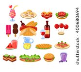 picnic food and drink set... | Shutterstock .eps vector #400680694