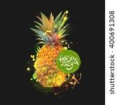 pineapple fresh organic food...   Shutterstock .eps vector #400691308