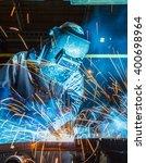 industrial steel worker speeds... | Shutterstock . vector #400698964
