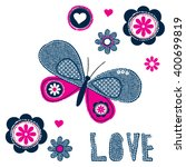 Stock vector beautiful butterfly with flowers on white background love card t shit design for kids vector 400699819