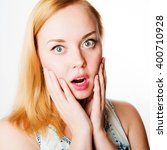 surprised excited woman... | Shutterstock . vector #400710928